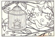 Birdcage Hanging In Tree  Hampton Art Rubber Stamp  w/m  FREE SHIPPING  NEW