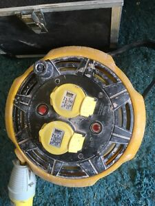 110v Extension Lead Cable Reel 15m 2 Socket Yellow 16A  Used