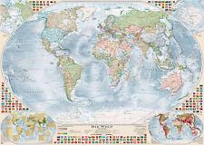 """Aktuelle Politische Weltkarte """"Antik"""" mit 4 Nebenkarten, 140 x 100 cm"""