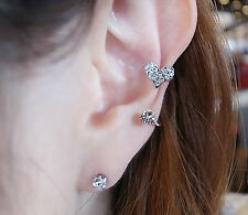 2 PIEACE STUD AND CUFF SILVER TONE EARRING SET WITH RHINESTONE HEART