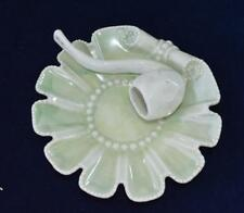 Signed Germany Porcelain Light Green 3D TOBACO PIPE Decor Smoking Pipe Ashtray