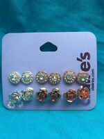 Six Pairs Of Claires classy Coppertone Silvertone And Gold Tone Pierced Earrings