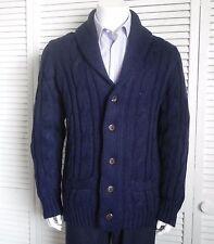 NEW Mens SIZE L ALPACA Navy Blue Shawl Collar Knit Cable Cardigan Sweater PERU