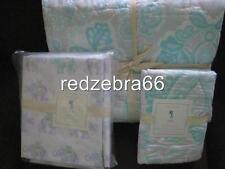 Pottery Barn Kids Aqua Blue Elyse Twin Quilt Sham Elephant Sheet Set 5-pc NEW