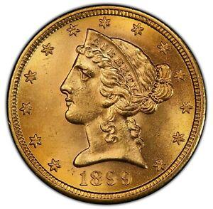 1899-S $5 MS64+ PCGS Liberty Gold Half Eagle