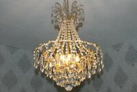Gigantische antiker Wiener Messing Kristall Korblüster Lüster Kronleuchter Lampe