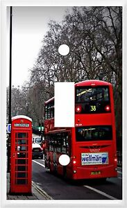 LONDON RED BUS AND PHONE BOOTH  LIGHT SWITCH COVER PLATE