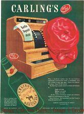 1940s Carling Red Cap Ale Hat In A Cash Register 14 inch Paper Ad