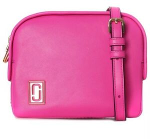 New Marc Jacobs The Mini Squeeze Leather Half-Moon Crossbody Bag vivid pink bag