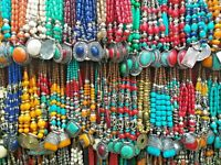 Banjara Tibétain Ethnique Inde Amber Look Résine Perles Tribal gras Collier 886