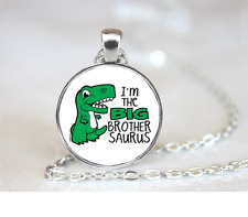 I'm The Big Brother Saurus PENDANT NECKLACE Chain Glass Tibet Silver Jewellery