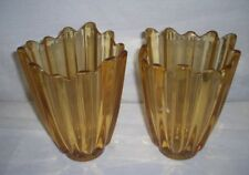 VIKING GLASS -  AMBER LOTUS PETAL VASES ANTIQUE