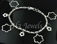 18k white gold charm bracelet sunflower  bracelet 9.70 grams diamond cut #454