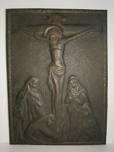 Crucifixion of Jesus 1976 Vtg Embossed Metal Picture Christ Crucified Painting
