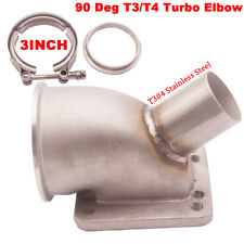 "3"" 63mm V band 90 Deg T3/T4 Car Quality Turbo Elbow Adapter Flange Cast WG Tube"