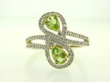 Beautiful Peridot & Genuine Diamond Solid 14K Multi-Tone Gold Swirl Ring Band