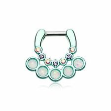 "Teal Septum Clicker 14g 1/4"" 6mm Opal Aurora Borealis Aureole Gemina Septum Ring"