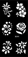 Stencils for Henna Tattoos Self-Adhesive Flowers Body Art Temporary Tattoo