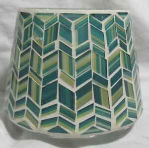 Yankee Candle Large Jar Shade BLUE MOSAIC Artistic Herringbone Blues Teals Cream