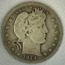 1914 Silver Barber Quarter Twenty Five Cent US Type 25c Very Good Condition