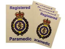5x Ambulance Service Registered Paramedic Car Badges / Window Stickers