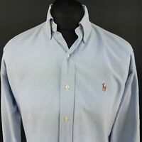 Polo Ralph Lauren Mens Vintage THICK Oxford Shirt 15 (LARGE) Long Sleeve Blue