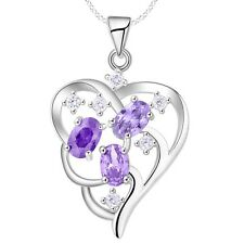 925 Silver and Triple Amethyst & Crystal Heart Pendant Necklace Ladies Gift Love