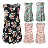 Women's Sleeveless Swing Tunic Summer Floral Vest Tank Cami Top Blouse T-Shirt