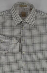 JOE * Joseph Abboud * White & Purple Plaid 100% Cotton Dress Shirt 16.5 x 36 L