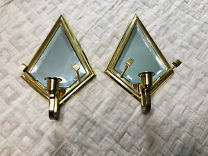 PartyLite Infinity Pair Wall Sconces Brass Mirrored Retro P0136 Candle Holders