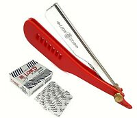 Barber Cut Throat Shavette Straight Razor Folding Shaving Beard Red 100 Blades