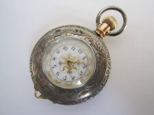 Silver Size 0 Model 1891 Demi Hunter Am Waltham Pocket Watch 14K Gold & Coin