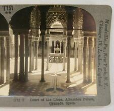 Stereoview Keystone 1712 T Court Of The Lions Alhambra Palace Granada Spain (O)