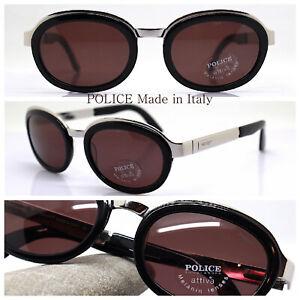 Police 2415 Italy 90s Sunglasses Men Oval Silver Black Lens Melanin