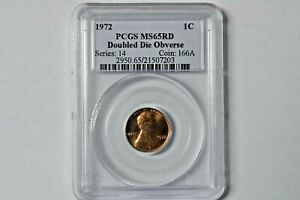 PCGS 1972 1C MS65RD DOUBLE DIE OBVERSE LINCOLN MEMORIAL PENNY
