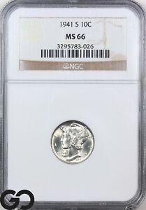 1941-S MS66 Mercury Dime NGC Mint State 66 ** Lustrous White Blazer!