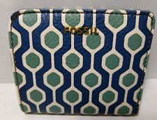 Fossil Women's Madison Bifold ID Wallet Vegan Blue Green White Multi NWT