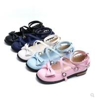 Womens Girls Round Toe Bowknot Flats Lolita Princess Shoes Cross Strappy Pumps