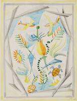 Rudolf SCHMID (1896-1971), Floraler Entwurf für ein Fenster, Aquarell, um 1960