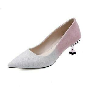 Sexy Womens Glitter Sequins Pointy Toe Kitten Heel Wedding Party Pumps Shoes new