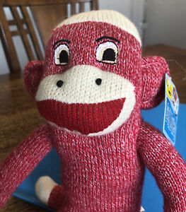 "Street Players Sock Monkey Red Pink White Stuffed Animal Plush 4Y6PG10 14"" NWT"