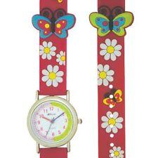 Childrens Girls Hot Pink Butterfly Daisy 3D Quartz Time Teacher Watch with G'tee