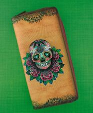 MLAVI DAY OF THE DEAD LARGE ZIPPER WALLET VEGAN FAUX LEATHER NEW (BW-CT008)