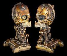 Steampunk kranial Skull Bookends Set - Skull Decorative Figurine Gothic Fantasy