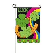Horseshoe Shamrocks St. Patrick's Day Luck Rainbow Applique' Holiday Sm Flag