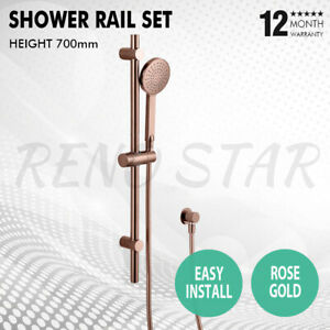 Shower Rail Handheld Head Rose Gold Round Wall Mounted for Bathroom