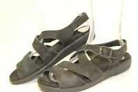 Mephisto Womens 40 10 Black Leather Ankle Strap Sandals Comfort Shoes