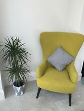 Made.com Bodil accent High Back armchair in Moss Yellow Fabric with wood legs