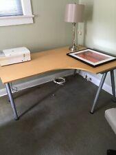 tabletop desk, no drawers, adjustable height, blond wood, made for corner