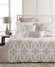$240 Hotel Collection Marquetry 400/TC Beige Cotton Full/Queen Duvet Cover